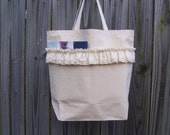 CLOSEOUT SALE -- Lace Ruffles Large Beach Tote Grocery Travel Bag Fabric Cotton Canvas Chic Shabby