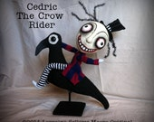 Original OOAK Primitive Crow Riding Creepy Art Doll Cedric RESERVED for julie