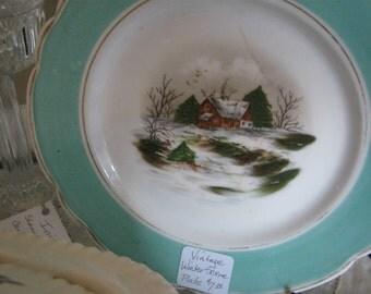 VINTAGE - Plate - Winter Scene