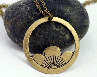 Brass Lotus Pendant Necklace