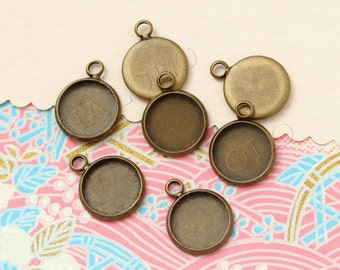 10 pcs antique bronze bezel round base - for 12mm round cabochons. BN392E