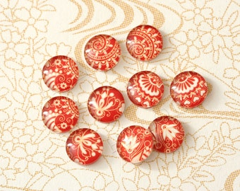 10pcs handmade assorted red  round glass dome cabochons 12mm (12-0003)