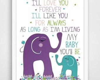 I'll love you forever elephant print