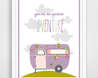 Kids Wall Art Print, Nursery Art, Children Wall Art. You Are Our Greatest Adventure Purple Floral Camper... print by Finny and Zook