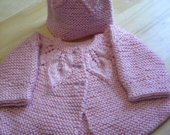 Baby Sweater Set  - Hand knit Infant S - 36