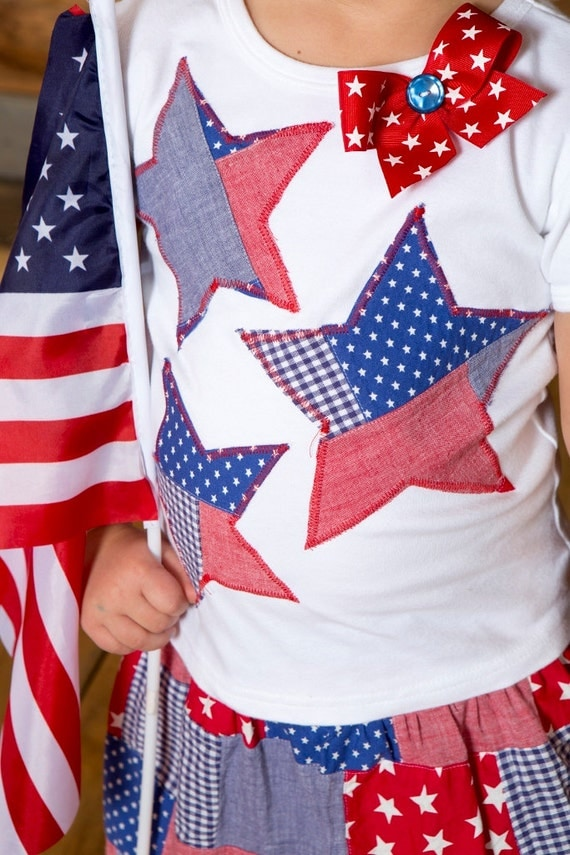 July 4 Patriotic stars Girls custom applique tee 6-12-18-24 mth 2-3-4-5-6-7-8