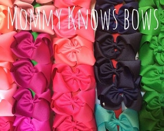 Five Large Solid Bows - YOU PICK COLORS - Free Shipping - Sale!!