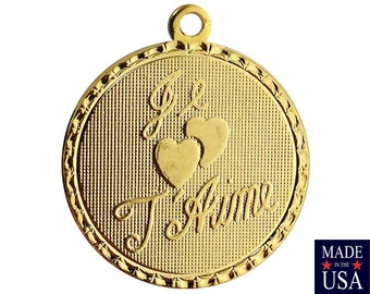Gold Plated Je T' aime I Love You Word Charm Drop with Loop (4) chr230EE