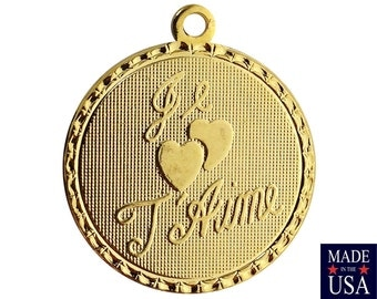 Gold Plated Je T' aime I Love You Word Charm Drop with Loop (1) chr215EE