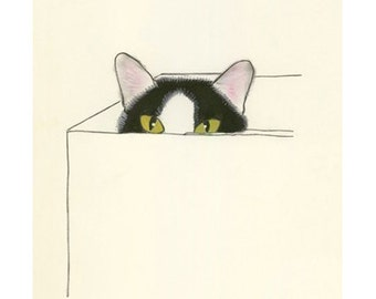 "Cat Art Print - Cat Artwork - Cat Wall Art - Whimsical Cat Art -   I Heart Boxes - 4"" X 6"" print - 4 for 3 SALE"