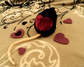 I -heart- Rats Plushie - Black with Plum Heart