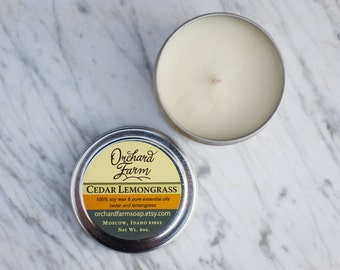 Cedar Lemongrass//Soy Candle//Travel Candle