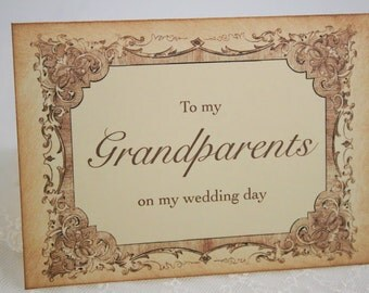 To My Grandparents Wedding Day Card Note Card Vintage Style
