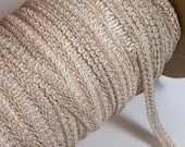 Ivory Gimp, Vintage Antique Ivory Gimp Braided Sewing Trim 1/2 inch wide x 3 yards, SECOND QUALITY FLAWED