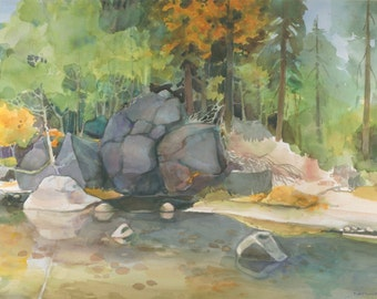 MERCED RIVER Watercolor Painting