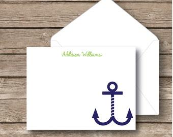 Personalized preppy stationery, Anchor notecards stationery set, nautical notecards, set of 12 notecards with envelopes