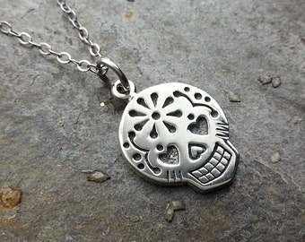 Sugar Skull Necklace, Sterling Silver Sugar Skull,  Dios de los Muertos, Day of the Dead, Halloween Jewelry