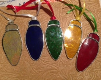 Stained Glass light Bulb Ornaments. Set of 5