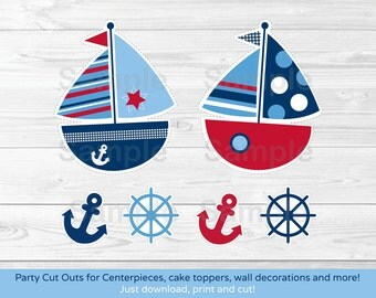 Nautical Sailboat Cut Outs / Sailboat Centerpiece / Wall Decor / Party Decor / Printable INSTANT DOWNLOAD