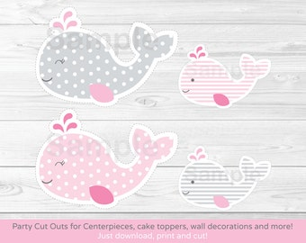 Pink Whale Cut Outs / Whale Centerpiece / Wall Decor / Party Decor / Printable INSTANT DOWNLOAD