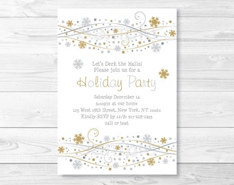 Snowflake Winter Holiday Party Invitation / Silver & Gold / PRINTABLE