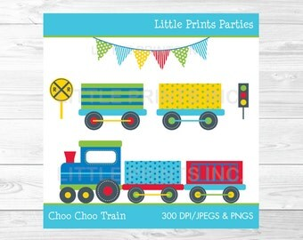 Choo Choo Train Clipart Colorful Train Clip art PERSONAL USE Instant Download