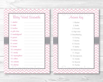 Pink Chevron Baby Word Scramble / Baby Shower Game INSTANT DOWNLOAD