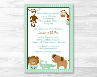 Baby Safari Jungle Animal Baby Shower Invitation / Gender Neutral / PRINTABLE