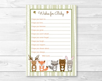 Woodland Forest Animal Birch Tree Wishes for Baby Advice Cards / Fox Deer Bear Raccoon Rabbit PRINTABLE INSTANT DOWNLOAD