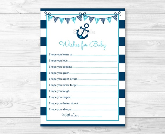 nautical anchor wishes for baby advice cards nautical baby shower