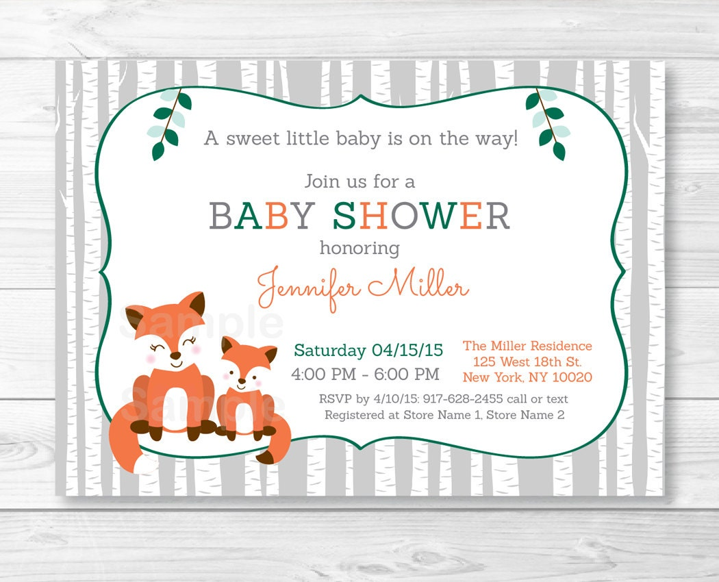 woodland fox baby shower invitation fox baby shower invite