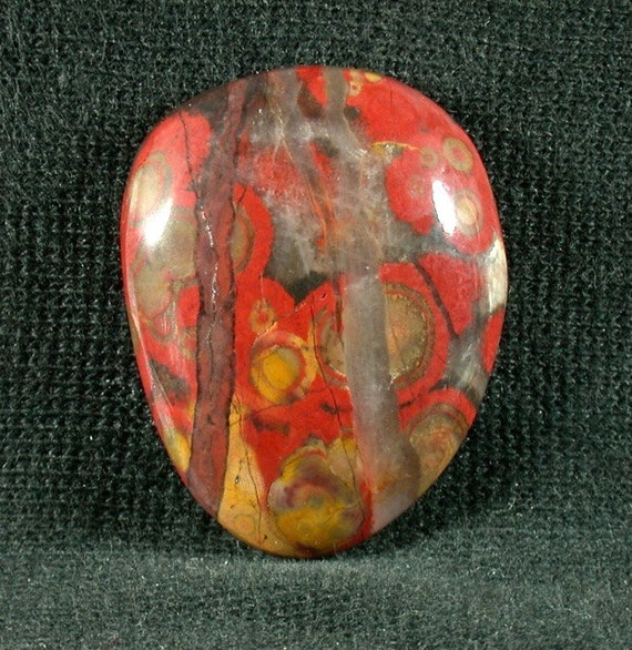 Morgan Hill Poppy Jasper Freeform Cabochon from California  24x30x7mm