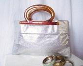 Vintage Silver Lame Clutch  - Large Formal Handbag - Holiday Party