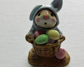 Wee Forest Folk Easter Bunny in Blue!!  Retired and Vintage!  So Cute!