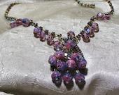 Vintage Delizza Elster Rhinestone Crystal Necklace Book Piece