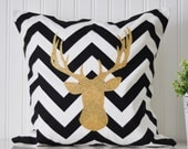 Gold Glitter Stag Throw Pillow Cover | 18x18 Black and White Chevron Deer Decorative Pillow Cover | Home Decor Pillow Cover