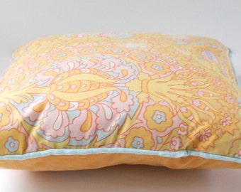 Pillow Cover 16 x 16 • Handmade from Vintage Fabric Pillow Cover • Vintage Fabric Peach Pink Blue