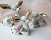 Reserved for Debbie Vintage Chase Deer Figurines Hand Painted Aqua Pink Set of Three