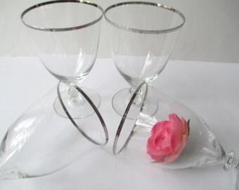 Vintage Platinum Trimmed Wine/Parfait Glasses Set of Four