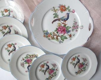 Platter Plate Collection Germany Bird Floral Set of Seven - Vintage Charm