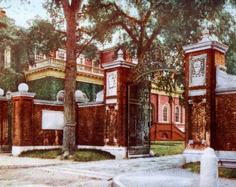 Turn of the Century Johnston Gate Harvard Hall  Harvard University Photochrome Print