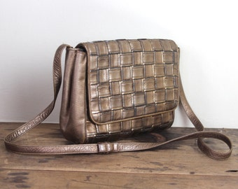 heavy metal, vintage 1980s BRONZE leather shoulder bag - SHARIF, 80s designer - woven, crossbody, braided, rocker chic