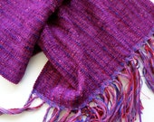 Christmas in July sale handwoven wrap/scarf in magenta