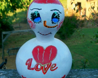 Love Snowman Handpainted Gourd  Decoration