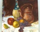 Original Oil Painting Still Life Chianti Wine Straw Copper Kettle Fruit Apple Grape Glass Kitchen