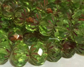 Czech Glass Rondell Cullers 8 mm Green Peridot Picasso 0/438