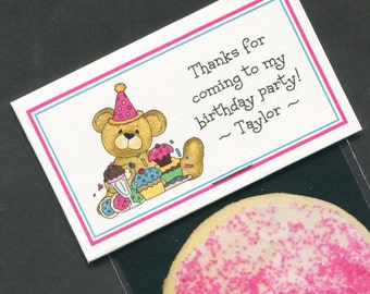 Girls Birthday Party Favors - Favor Bag - Bag Labels - Goody Bag - Treat Bag - Candy Bag - Party Favor Bags - Personalized - Bear - 20