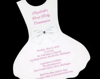 Dress Communion Invitations - First Holy Communion - First Communion - Girls Communion Invitations - White Dress - Shaped Invitation - 20