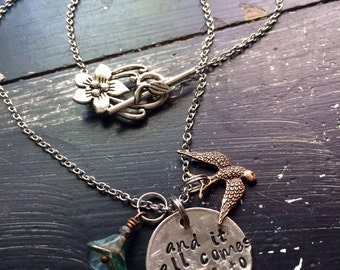 Fleetwood Mac Hand hammered Quarter ~ Stevie nicks gypsy style ~ necklace or bracelet ~ Metal stamped ~ and it all comes down to you