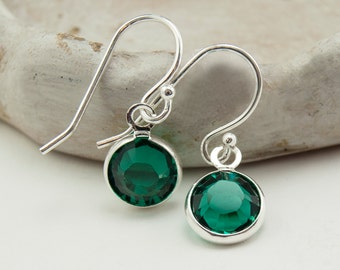 May Birthstone Earrings - Dangle Earrings - Birthstone Jewelry - Sterling Silver Earrings - Swarovksi Crystal Earrings - Drop Earrings Gift
